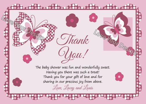 personalised baby shower thank you card design  baby shower, Baby shower invitation