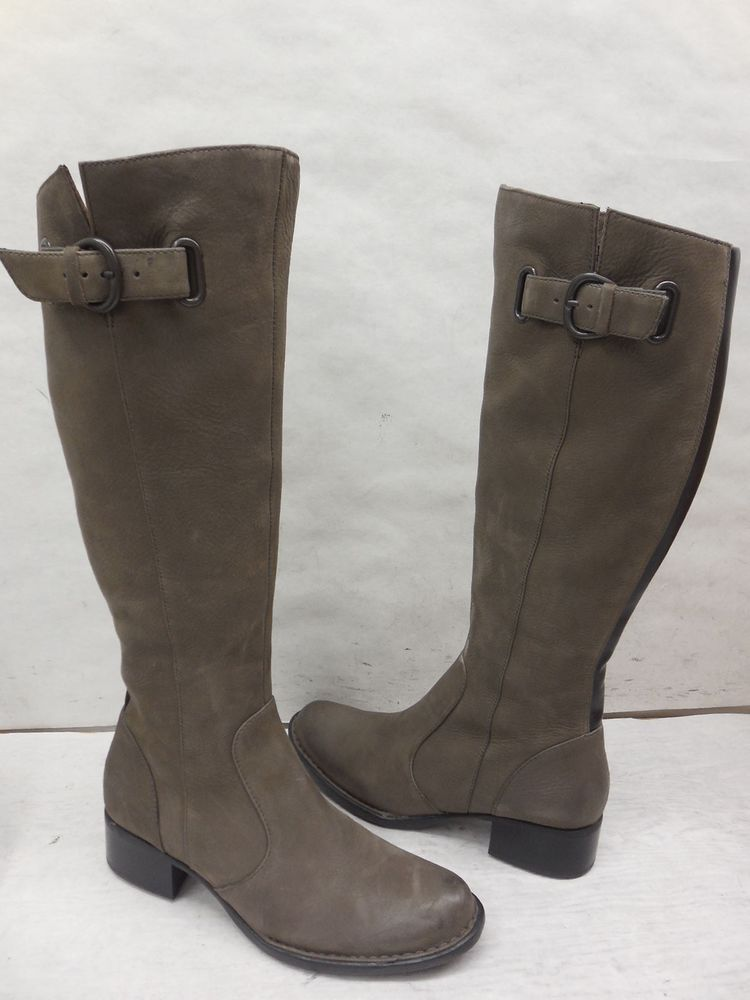 5e8cd9f2894 New Born Crown Womens Roxie Gray Stone Leather Knee High Riding Boots Size  5  BornCrown  RidingEquestrian