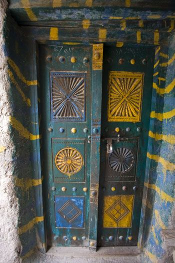 Photograph Of Painted Door In One Of The Old Houses Of The