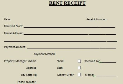 Rent Receipt Template : 10 Free Word U0026 Excel Templates   Demplates  How To Write A Receipt For Rent