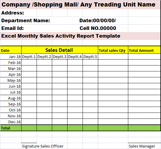 excel monthly sales act