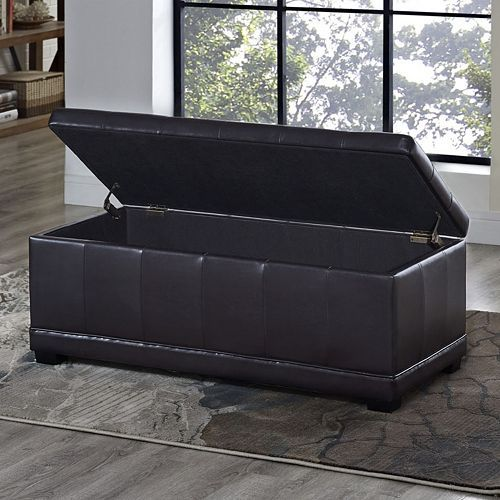 Simpli Home Westchester Faux Leather Storage Ottoman Leather