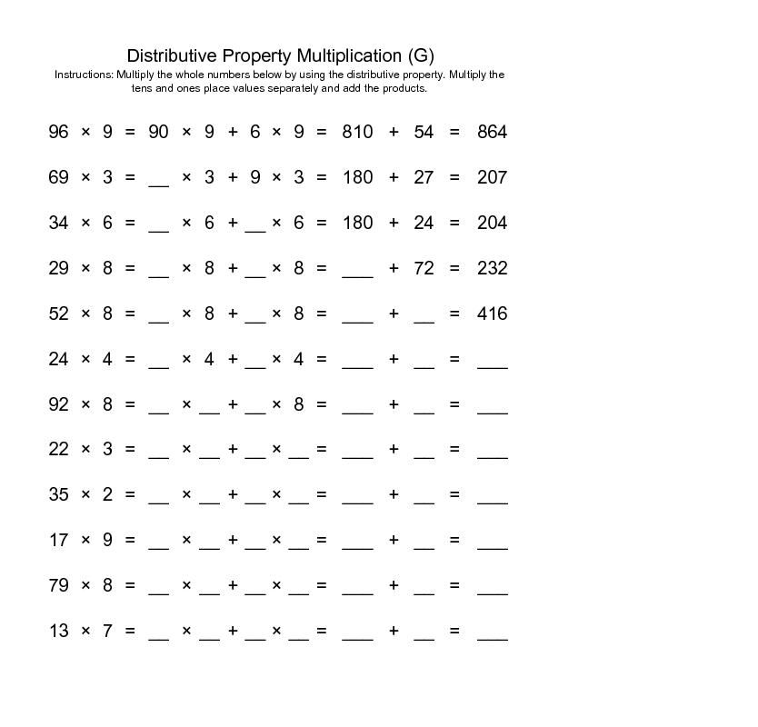distributive property of multiplication over addition ...
