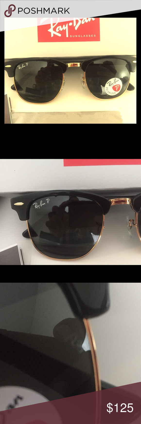 3c4254aa0c Ray Ban Clubmaster RB3016 Black Polarized G-15 len Brand new and authentic  Ray