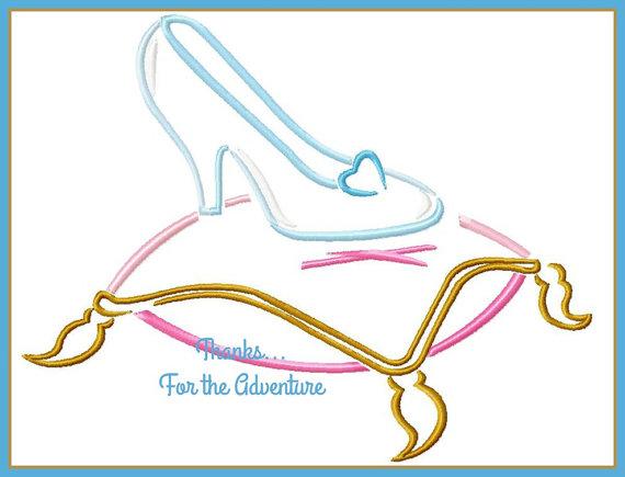 Princess Cinderella  Glass Slipper Sketch Digital Embroidery Machine Design File 4x4 5x7 6x10