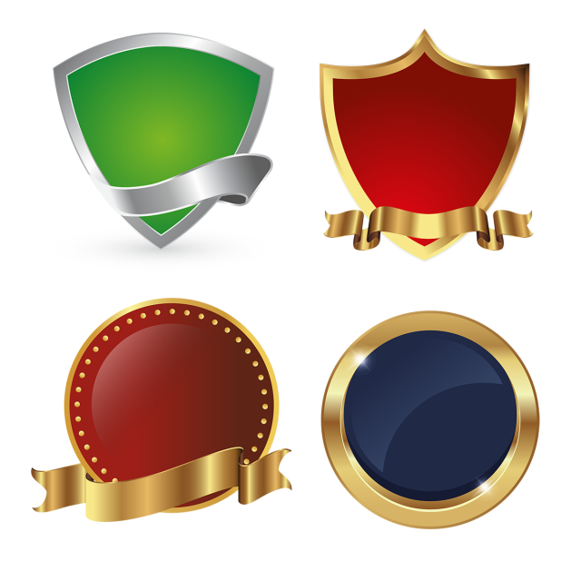 Golden Shields Logo Icon Badges Collection Png And Vector Badge Law Logos Design Logo Banners