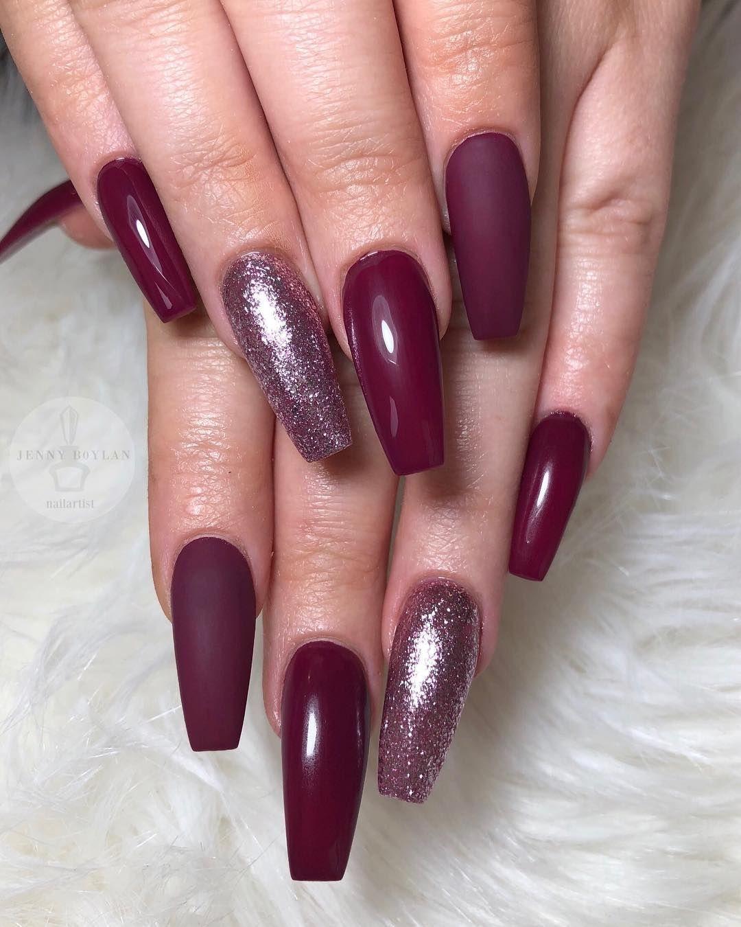 Dark purple and glitter nail art design