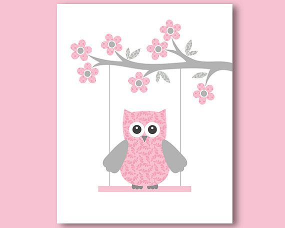 grey and pink owl on a swing print poster by jjartworld on etsy owls pinterest. Black Bedroom Furniture Sets. Home Design Ideas