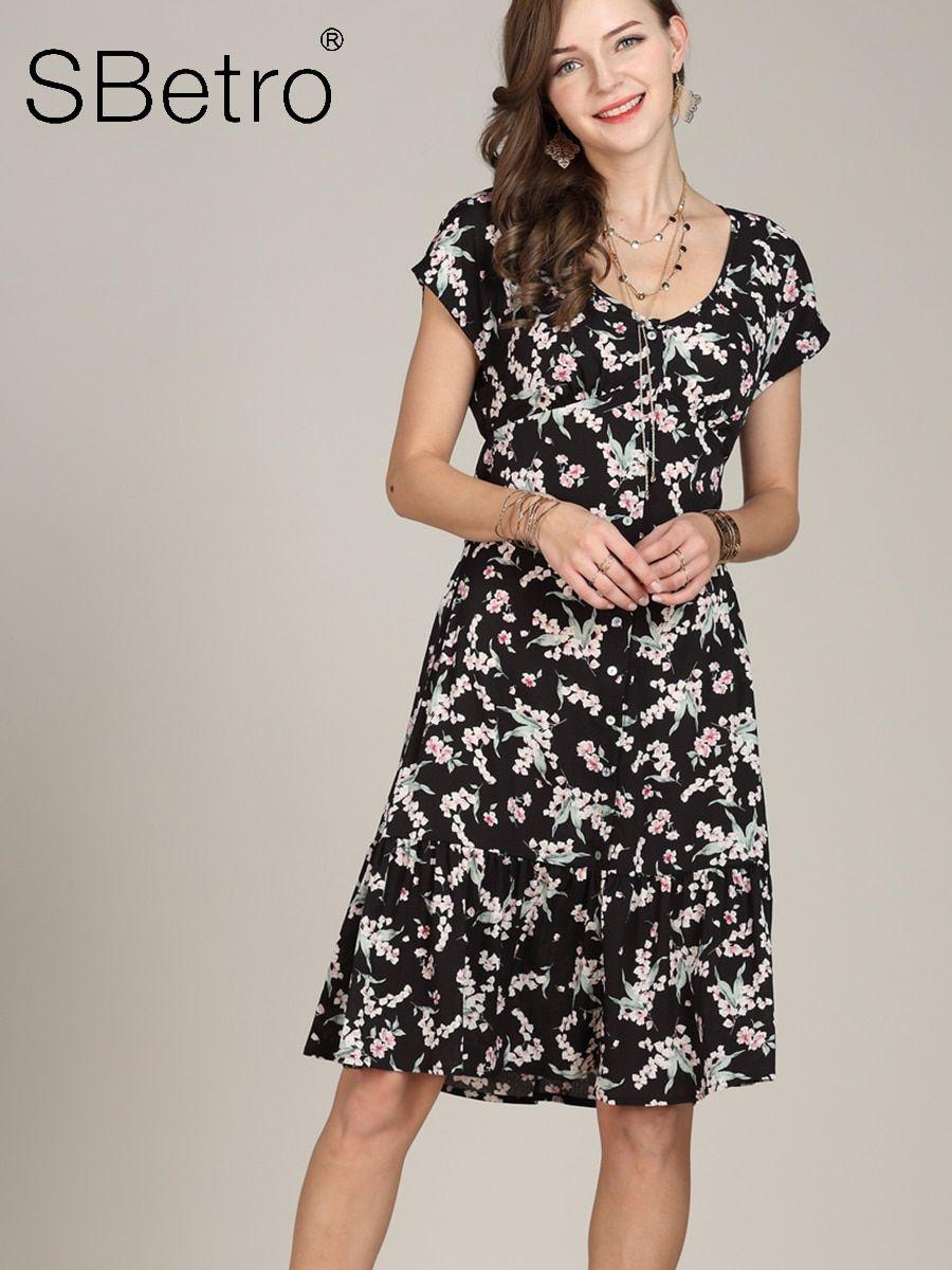 Buy SBetro Women s Dress Short Sleeve Floral Color Block Aline Dress   Regular  Dresses - at Jolly Chic 0806dd801