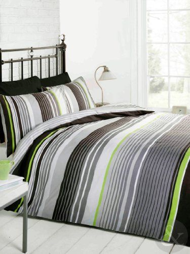 Multi striped bedding cotton rich quilt cover - Black and lime green bedding ...