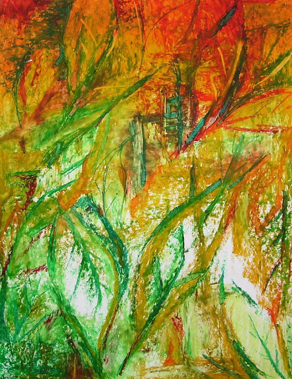 Autumn Leaves Small Abstract Leaves Drawing Nature Art Wall Art Original Oil Pastel Drawing Oil Abstract Flower Art Leaf Drawing Oil Pastel Drawings