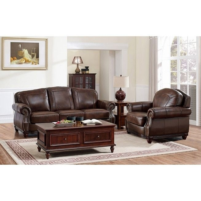 Amax Mesa Brown Leather Sofa And Chair Set
