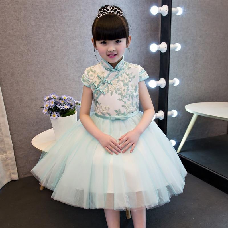 65730b4c6 Chinese Traditional Girls Summer Dress Children Kids Cheongsam Princess  Embroideried Flowers Mesh Qipao Birthday Wedding Dresses