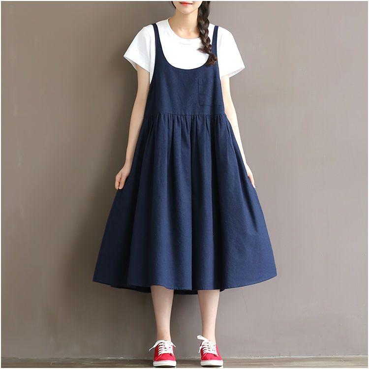 5c6a8b0d41fb6 Japanese Sweet Mori Girl Fashion Loose Pure Color Cotton Sleeveless Slip  Dress