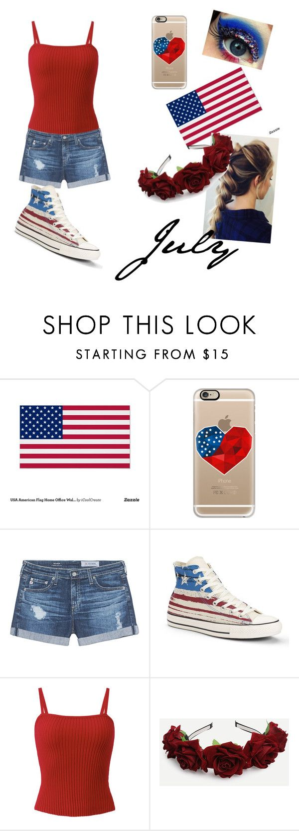 """July #7"" by ellahiguera ❤ liked on Polyvore featuring Casetify, AG Adriano Goldschmied and Converse"