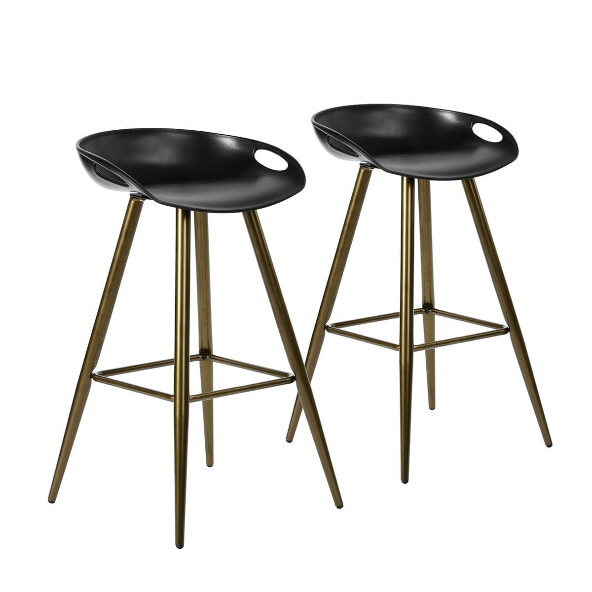 Outstanding Furniturer Low Back Fixed Height Bar Stool Set Of 2 Black Bralicious Painted Fabric Chair Ideas Braliciousco