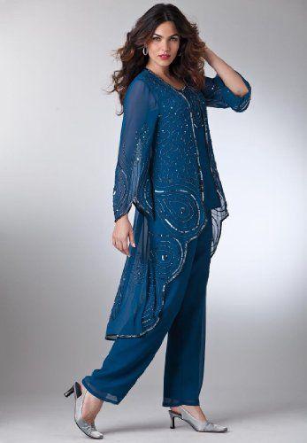Cheap Roamans Plus Size 3 Piece Pantsuits For Women Mother Of The Bride Suits Long Sleeve Dress Formal