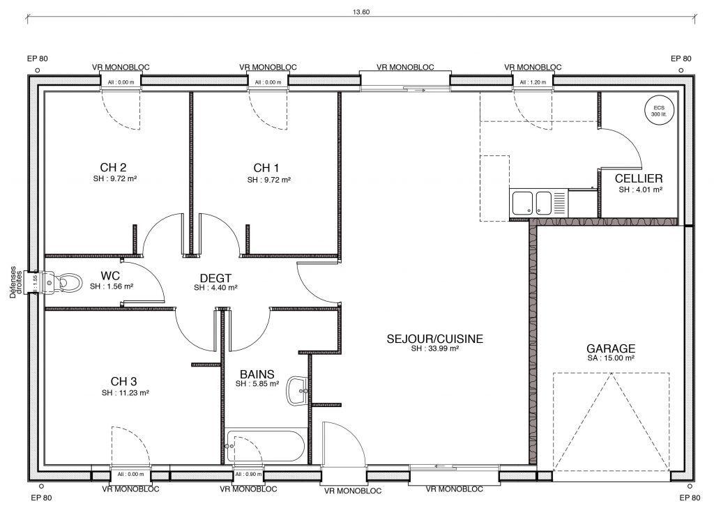 50 Awesome Plan De Maison 2 Chambres Salon Cuisine Pdf Plan Maison 3 Chambres Plan Maison Plan Maison 4 Chambres