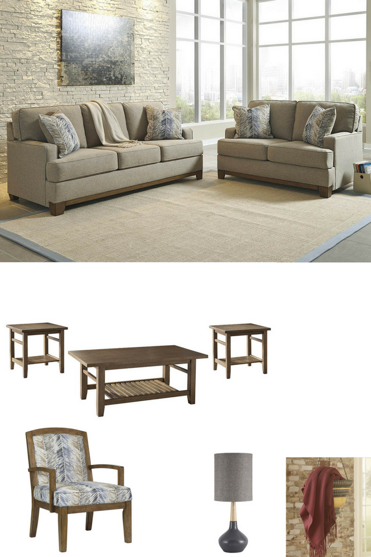 Hillsway Sofa, Love and Accent Chair / Zantori Light Brown ...