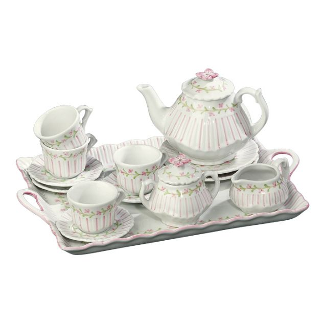 porcelain tea sets pinstripe pink child 39 s 18 pc porcelain tea set andrea by sadek 19514. Black Bedroom Furniture Sets. Home Design Ideas