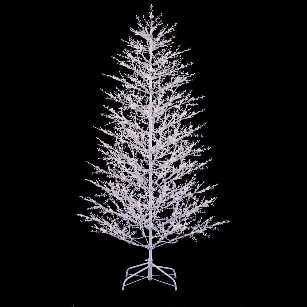 Ge 7 Ft White Winter Berry Branch Artificial Christmas Tree With Clear And Frost White Light Outdoor Christmas Tree Winter Tree Decorations Led Christmas Tree