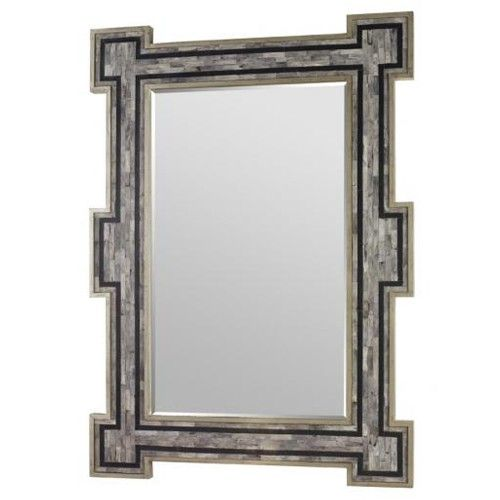 A striking ivory bone framed mirror with a gilded inlay.    Finish: Dirty Silver with Ivory Bone