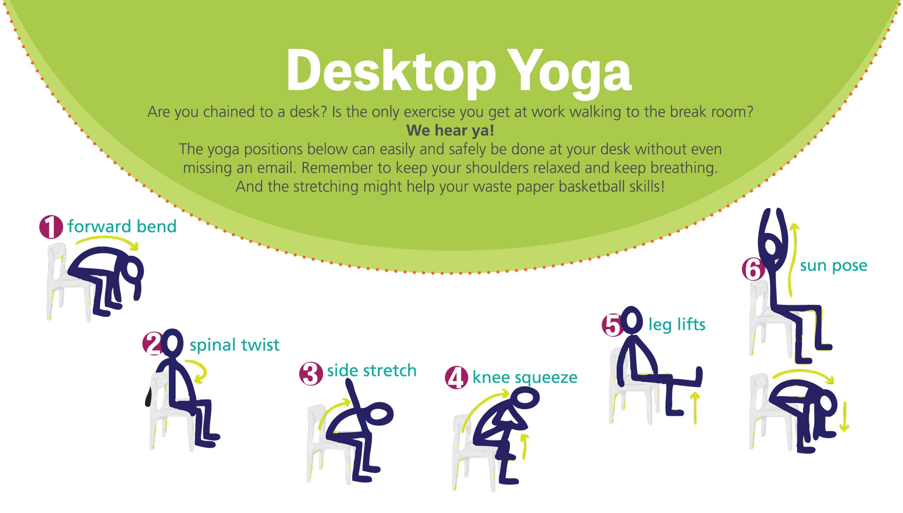 Desk Yoga Google Search Yoga Positions Yoga Office Yoga