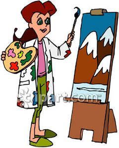 woman painting a mountain scene royalty free clipart picture boe4x2 rh pinterest com