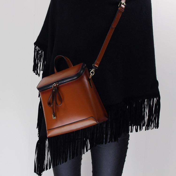 5fef9b5a5fb69 Genuine Leather backpack shoulder bag messenger bag for women leather  crossbody bag 14065 - LISABAG - 4