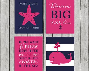 Hot Pink Nursery Decor Baby Nautical Art Bedroom Bedding