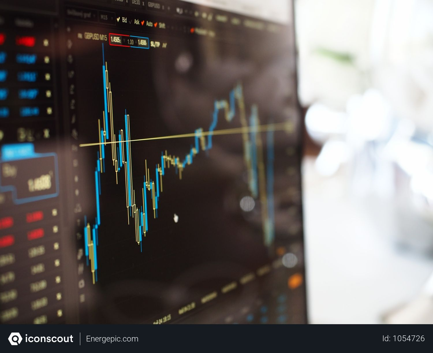 Free Blue And Yellow Graph On Stock Market Monitor Photo Download In Png Jpg Format Stock Trading Investing In Stocks Financial Markets