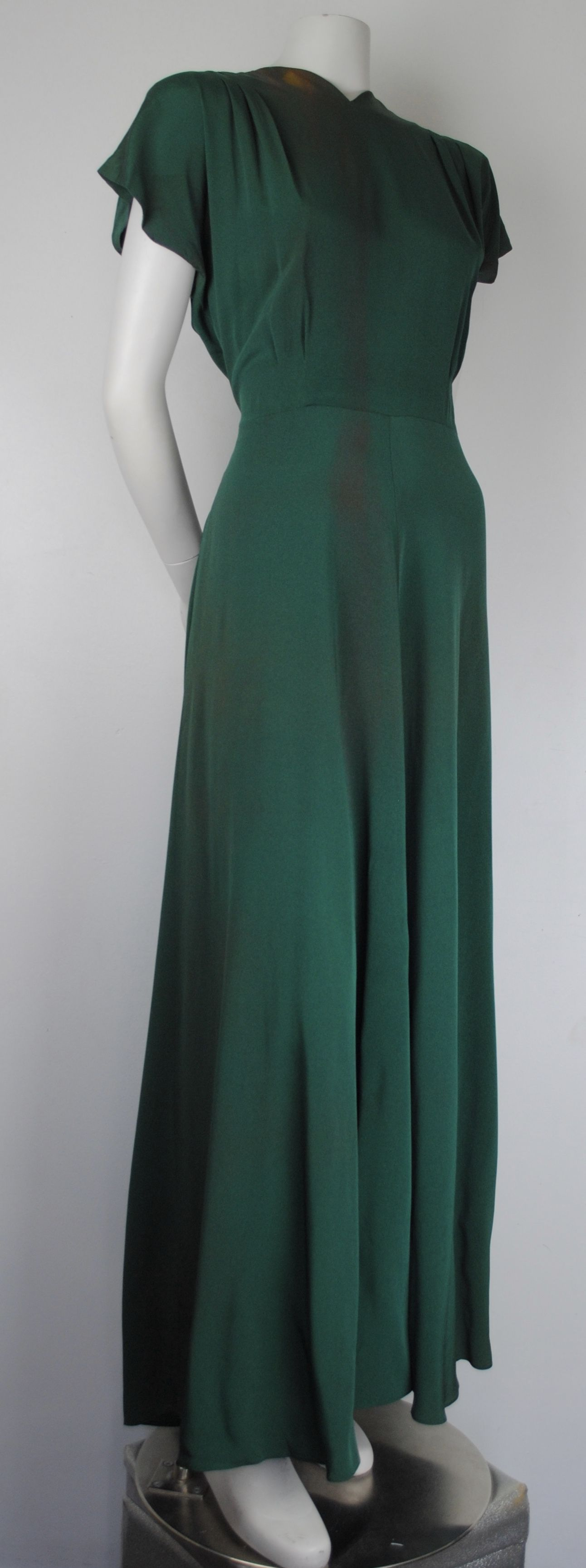 Sold 1940s Emerald Green Crepe Rayon Evening Gown Alda Wild