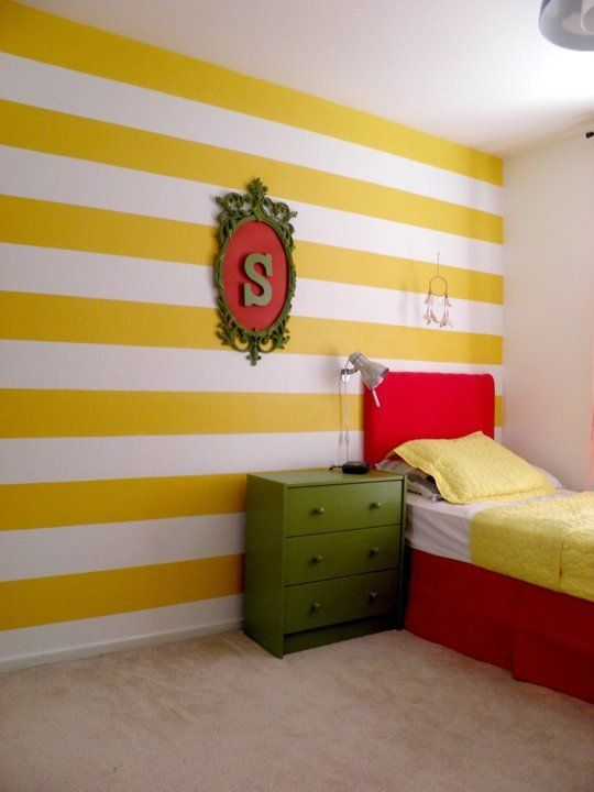 Bold Yellow Stripes For Sanjan S Room Colorful Kids Room