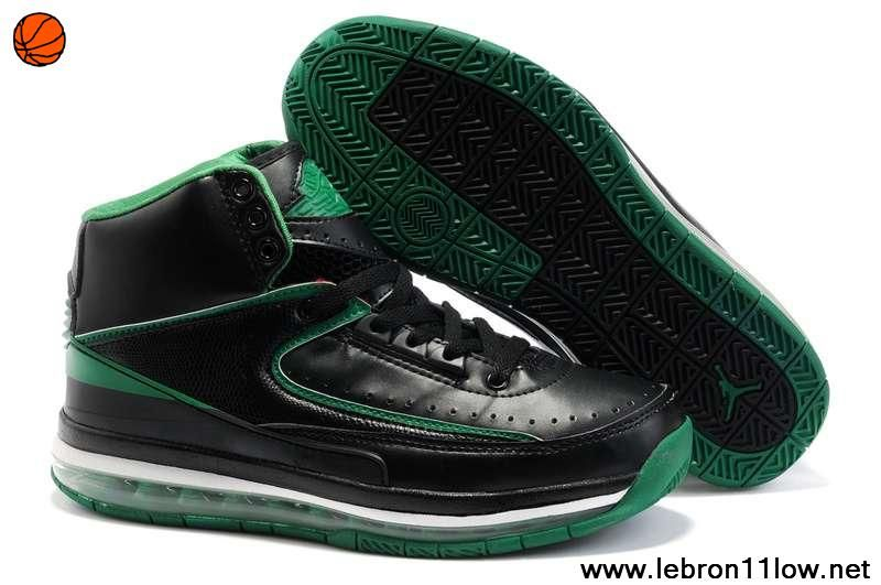 Cheap Original Air Cushion Black Green Nike New Jordans 2 II Retro