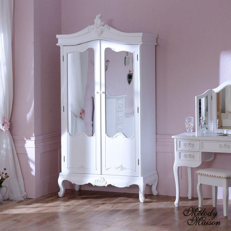Antique White Mirrored Double Wardrobe - Pays Blanc Range Double