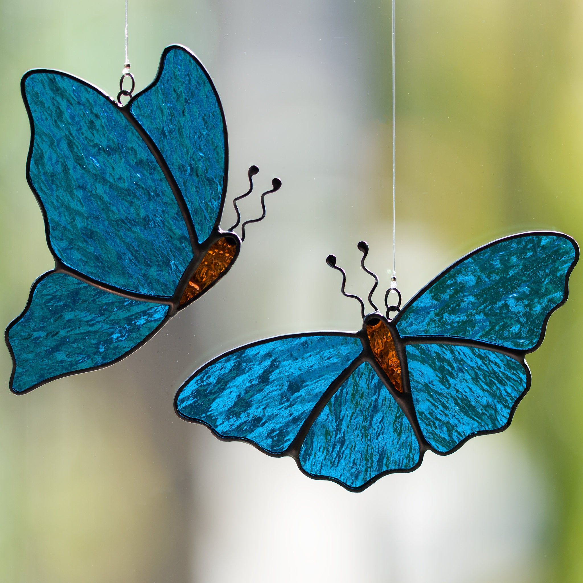 Stained Glass Butterfly in Blue,Gold,Aqua