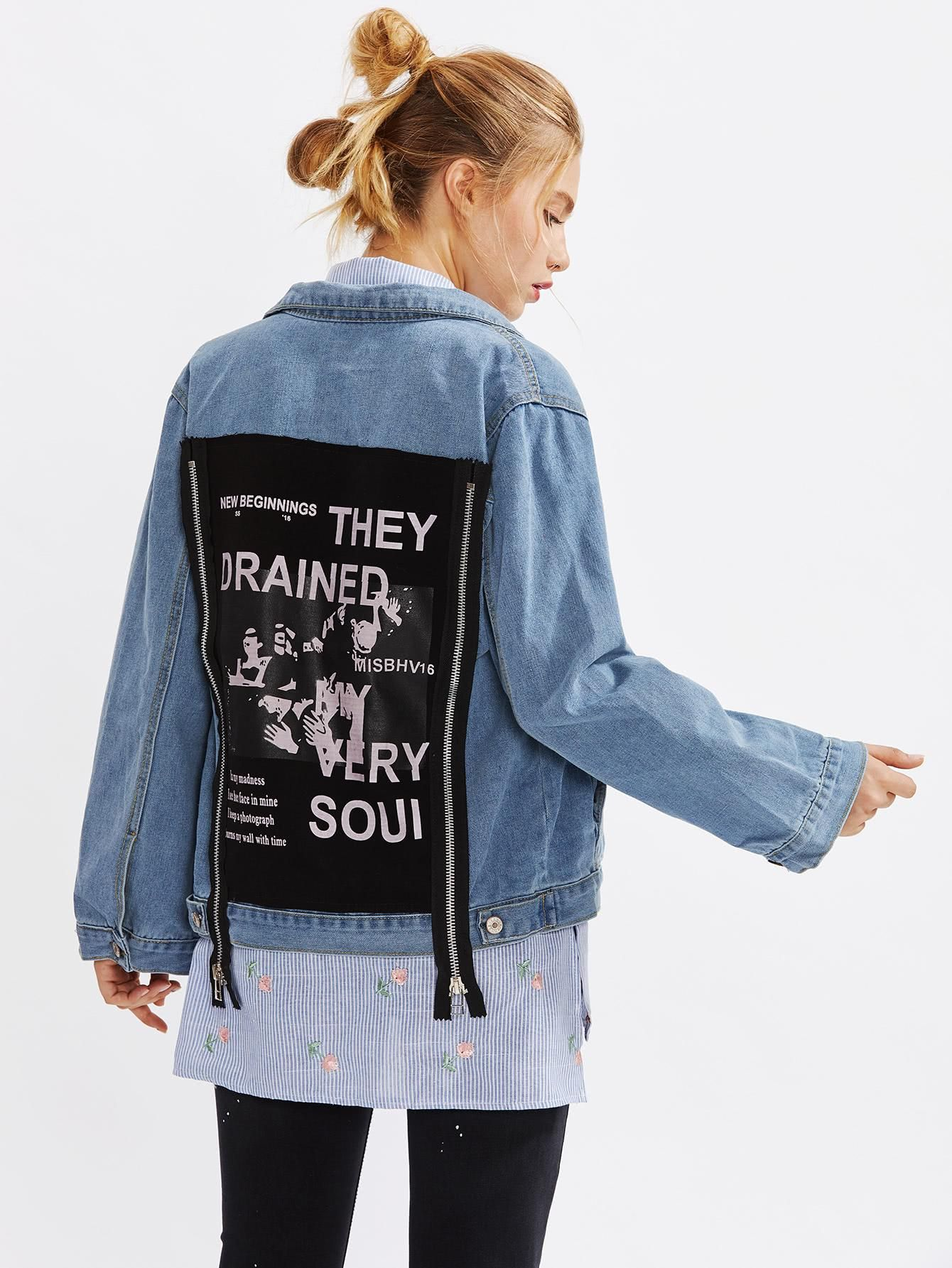 48285bfdf5 SheIn - #SheIn Patch Back Zipper Detail Denim Jacket - AdoreWe.com ...