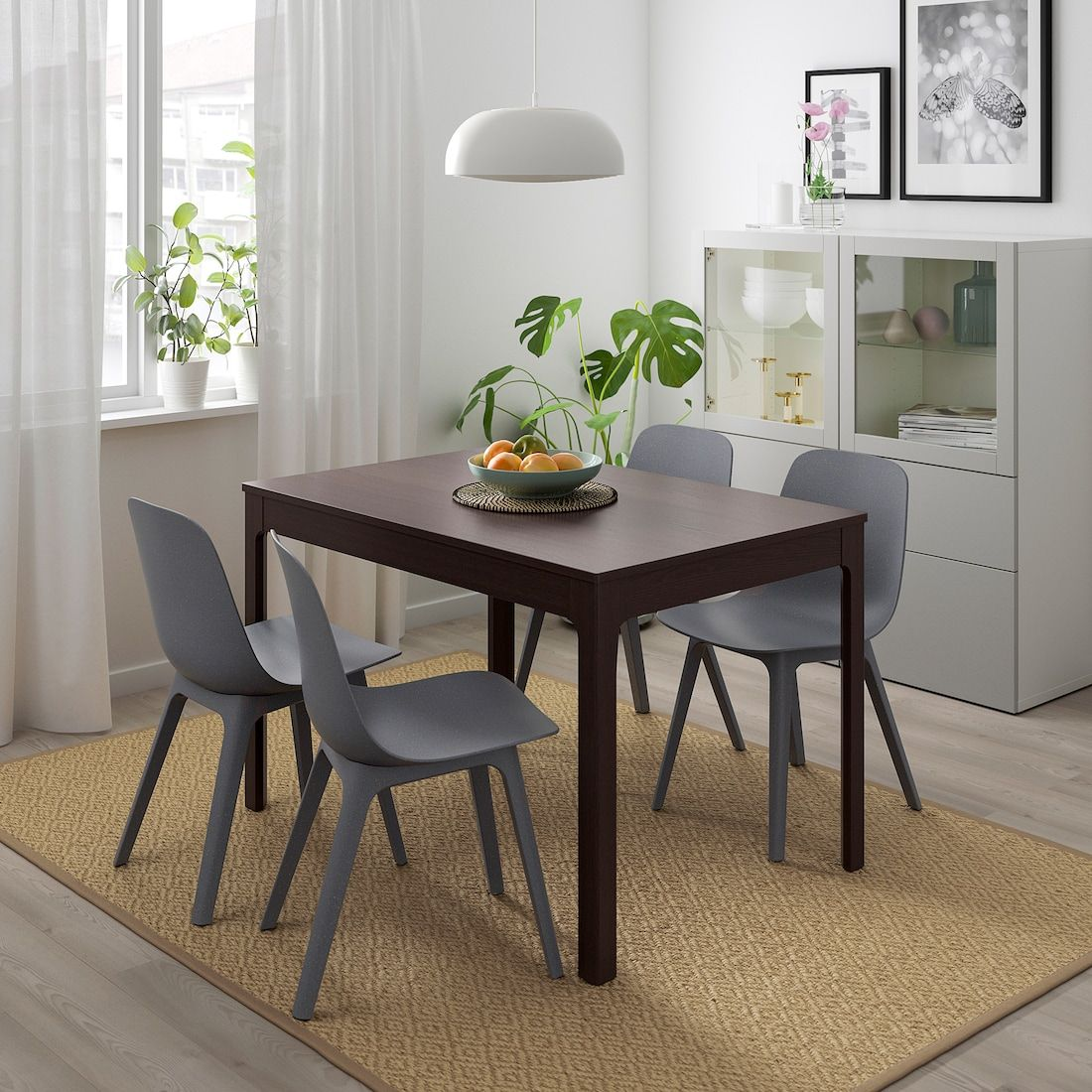 EKEDALEN / ODGER Table and 4 chairs dark brown, blue 47