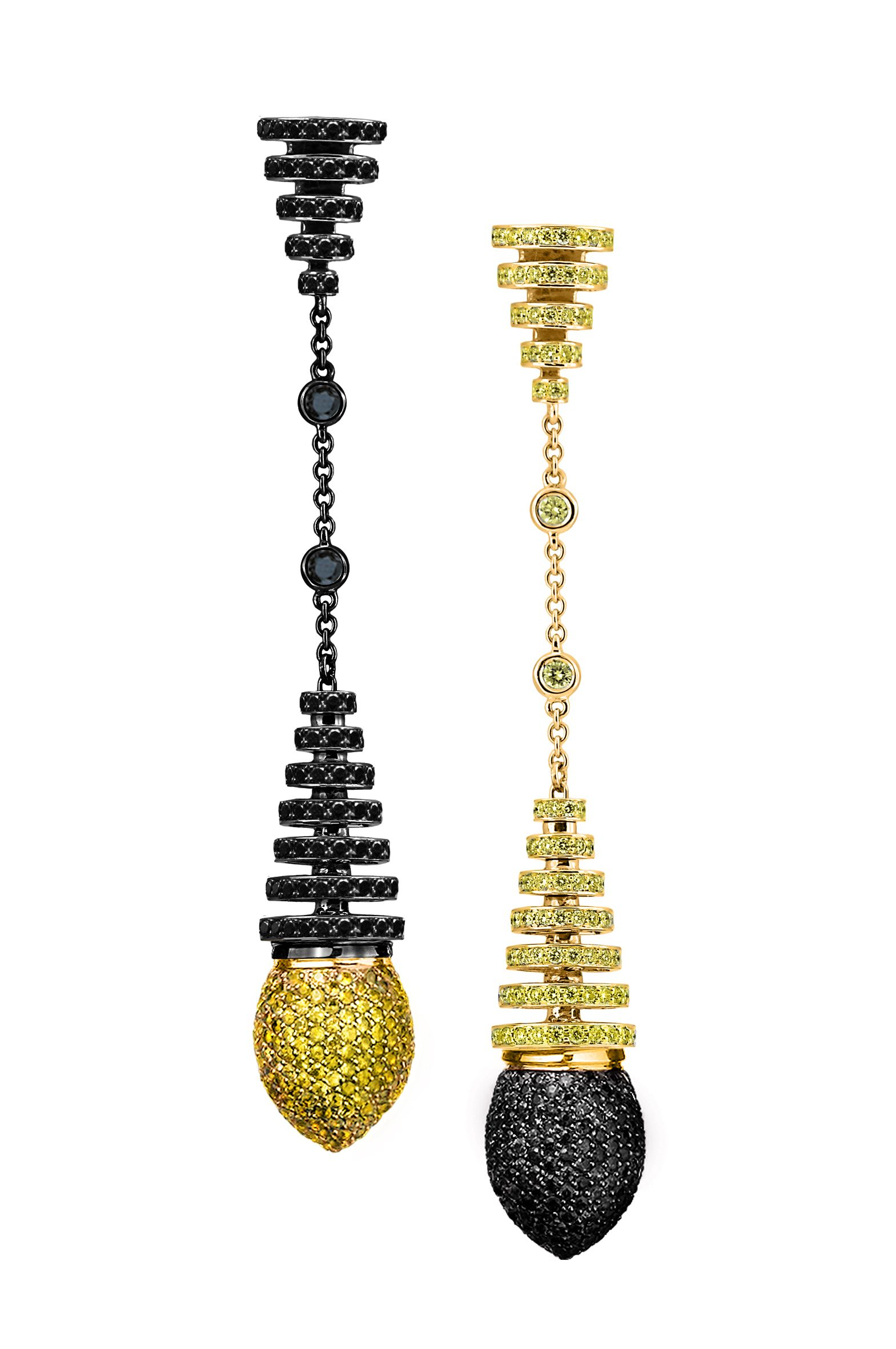 AVAKIAN Riviera Collection earrings in yellow and black diamonds