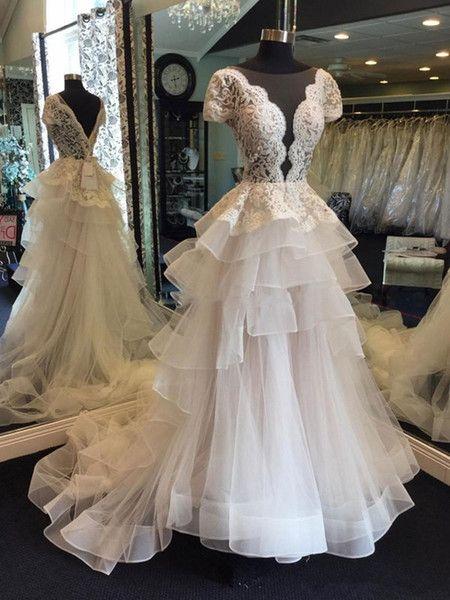 Discount Gorgeous Low Cut A Line Wedding Dresses 2018 Summer