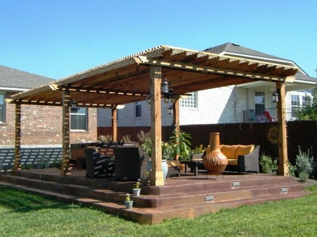 Large Wooden Pergola And Patio Cover Lone Star Land Design Austin Tx Jardineras