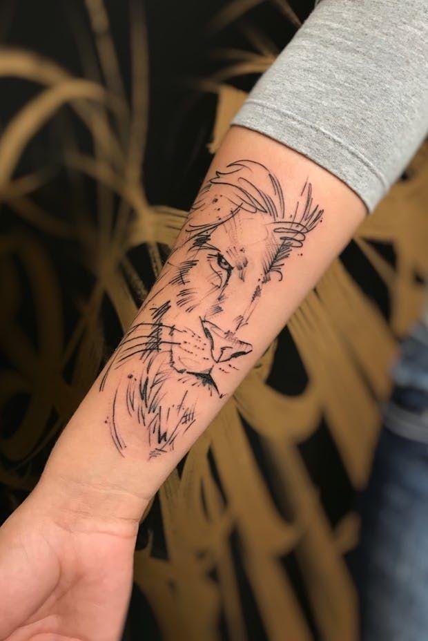 Tattoo Lion Fine Line Small Tattoo Tattoos Lion Tattoo Wolf