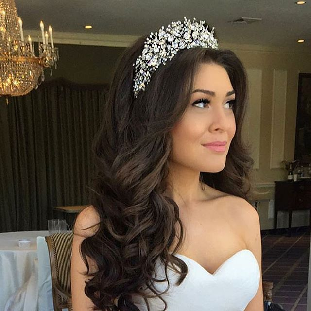 Suzanne Working Her Regal Bridal Look The Custom Designed Bridal Tiara Headpiece She Chose From O Wedding Hairstyles With Crown Crown Hairstyles Hair Styles