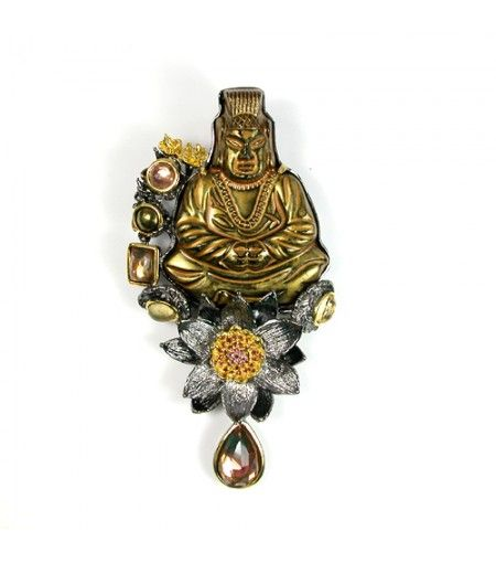 One of the pieces I brought with me to the show. Golden Buddah atop Lotus Flower Pin - Pendant