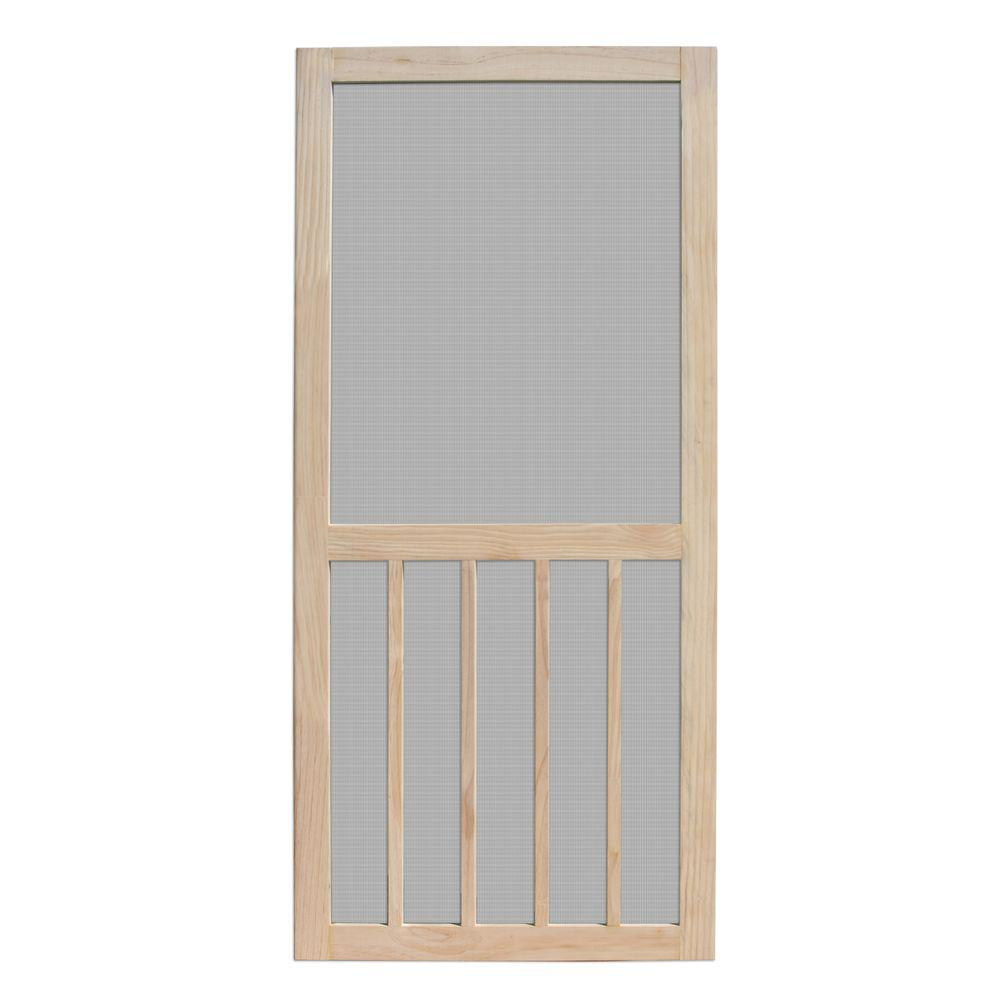 Unique Home Designs 30 In X 80 In Aspen Unfinished Pine Outswing Wood Hinged Screen Door Ishw300030nat T Unique House Design Wooden Screen Door Wood Hinges