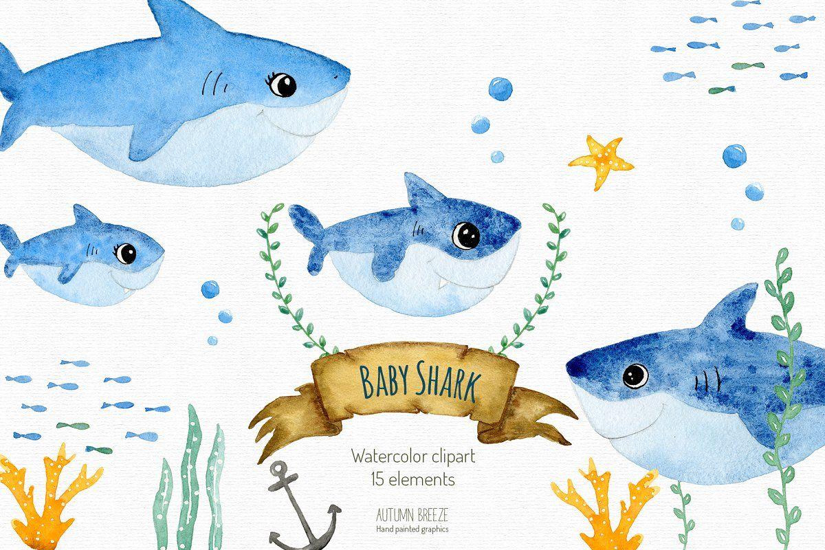 Baby Shark Clipart Shark Illustration Clip Art Color Pencil Illustration