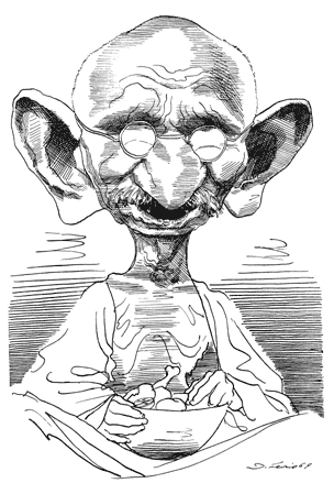 Gandhi Por David Levine Ilustraciones Dibujos Caricaturas