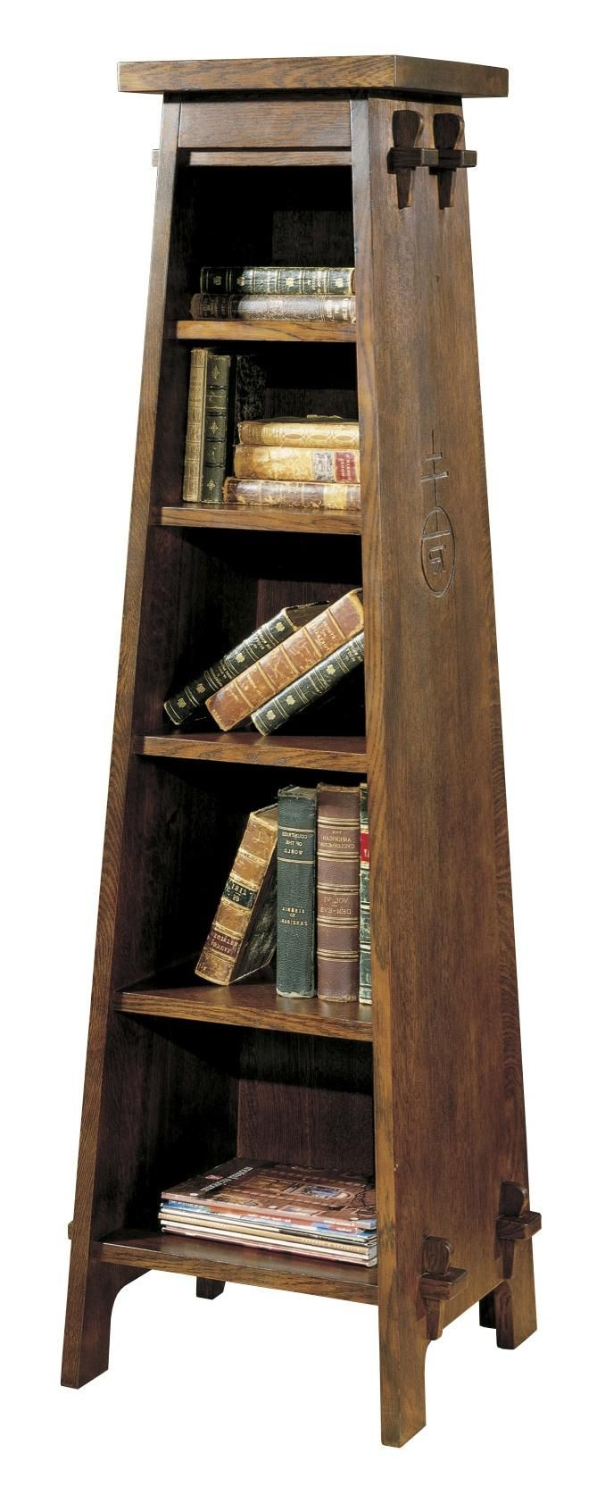 Stickley Oak Mission Classics Roycroft Tiered Shelf Magazine Pedestal | Jacksonville  Furniture Mart