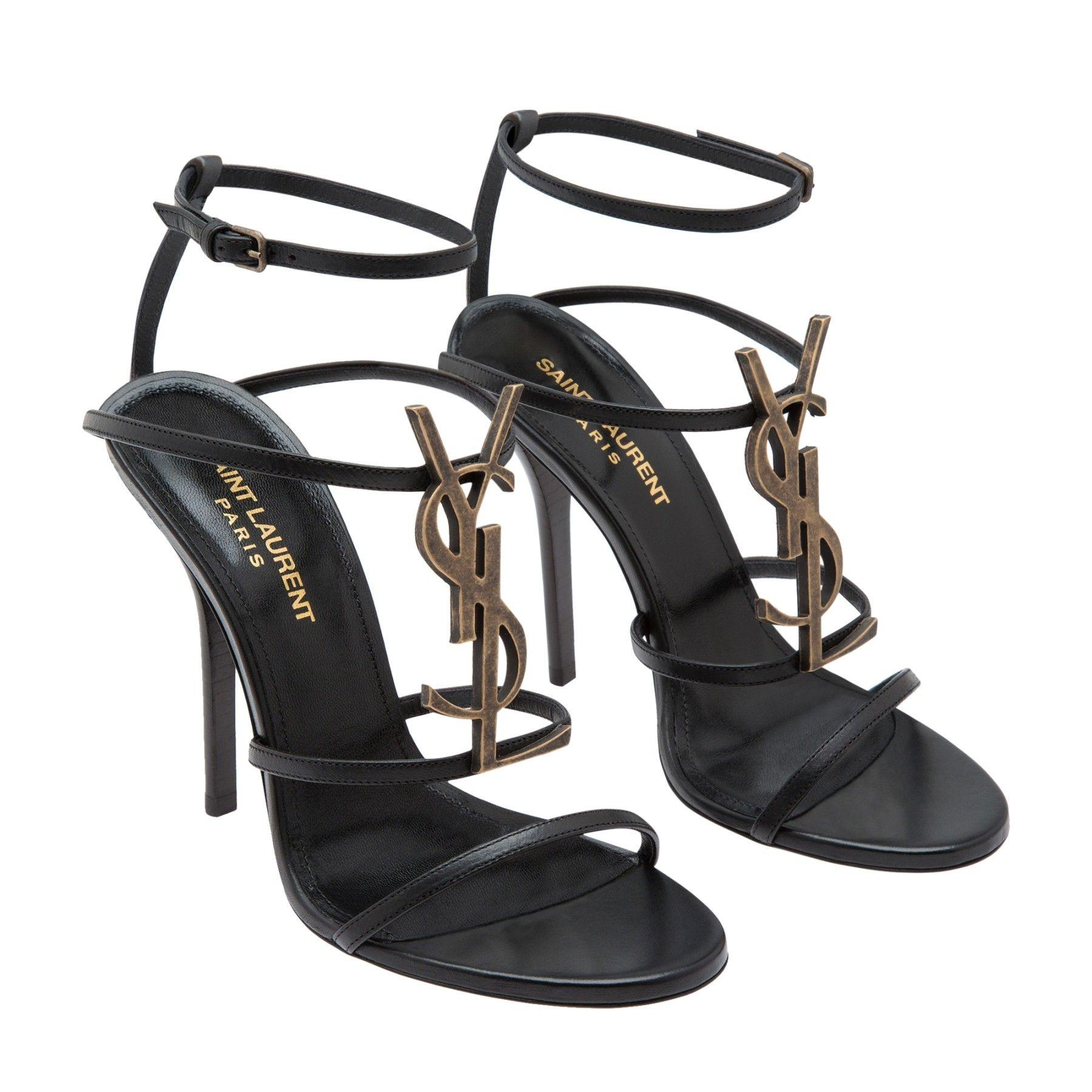 82a41cb2 Cassandra leather sandals Women Black | Sandales Yves Saint Laurent ...