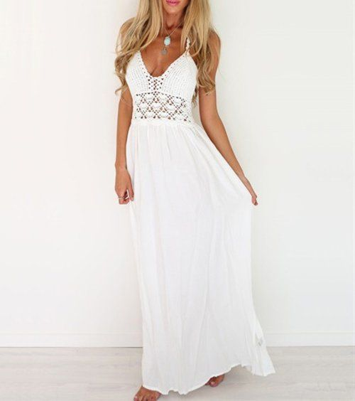 5 Cute Cheap Maxi Dresses Under  30  Sexy bohemian style white crochet cheap  maxi summer dress with halter top and sexy V-neck by Lilbetter. f45dec94e753